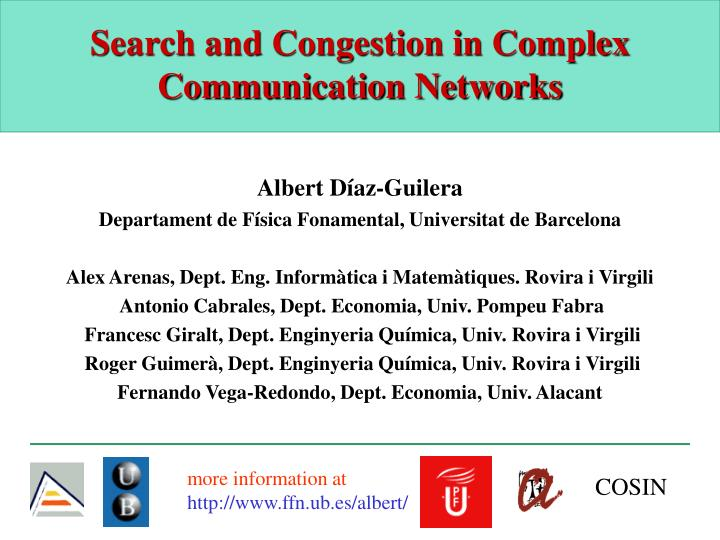 search and congestion in complex communication networks n.