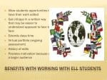 benefits with working with ell students