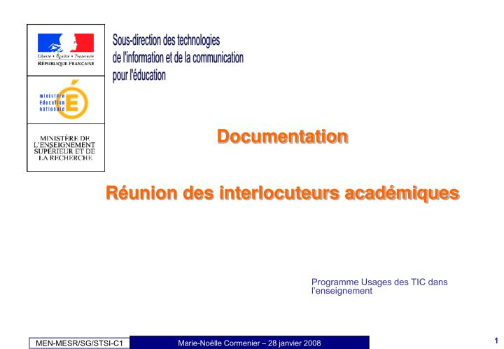 documentation r union des interlocuteurs acad miques n.