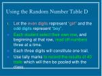 using the random number table d