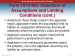 form 1073 465 statement of assumptions and limiting conditions cont