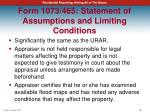 form 1073 465 statement of assumptions and limiting conditions