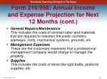 form 216 998 annual income and expense projection for next 12 months cont3