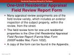 one unit residential appraisal field review report form