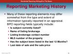 reporting marketing history