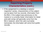 reporting property characteristics cont