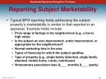 reporting subject marketability