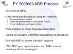 fy 2008 09 abr process