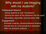 why should i use blogging with my students