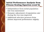 initial performance analysis from fitness scaling equation cont d
