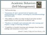 academic behaviors self management