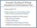 example reading writing standards for informational text