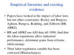 empirical literature and existing evidence