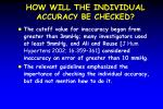 how will the individual accuracy be checked