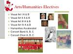 arts humanities electives