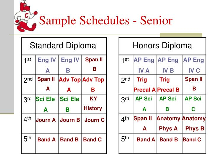 Sample Schedules - Senior