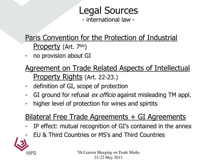 Legal sources international law