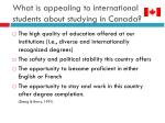 what is appealing to international students about studying in canada