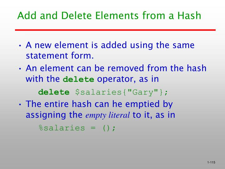 Add and Delete Elements from a Hash