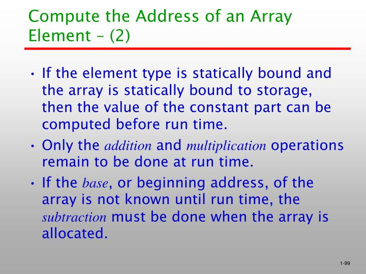 Compute the Address of an Array Element – (2)