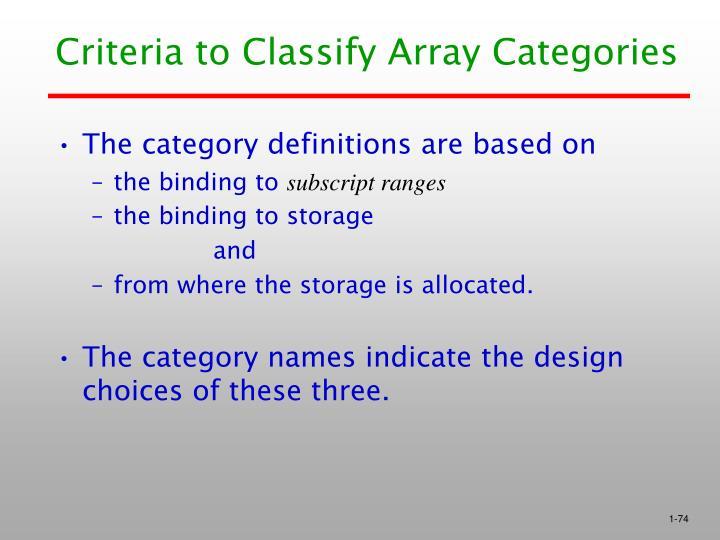 Criteria to Classify Array Categories