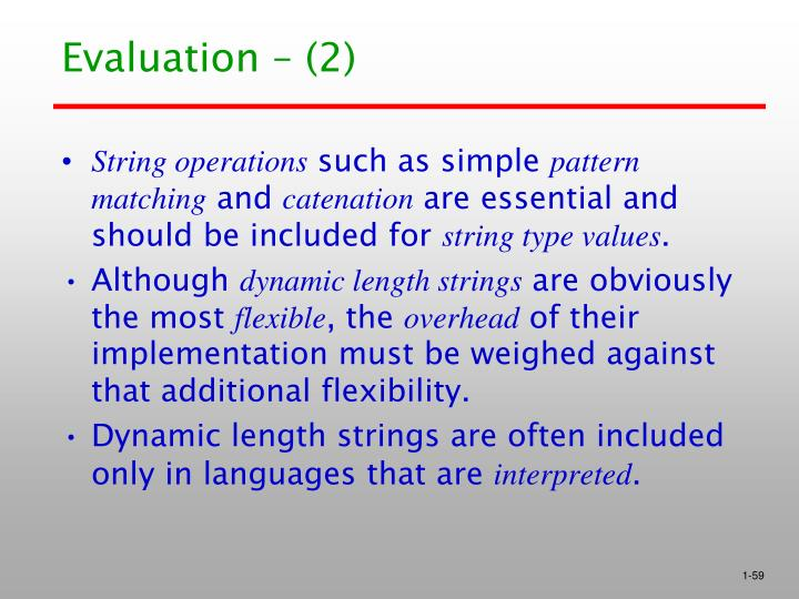 Evaluation – (2)