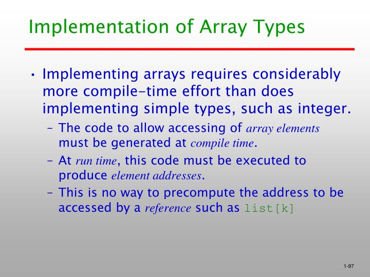 Implementation of Array Types