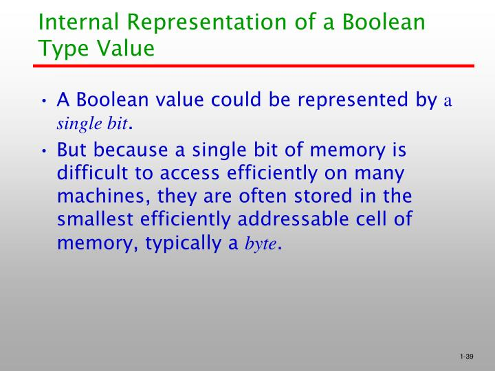 Internal Representation of a Boolean Type Value