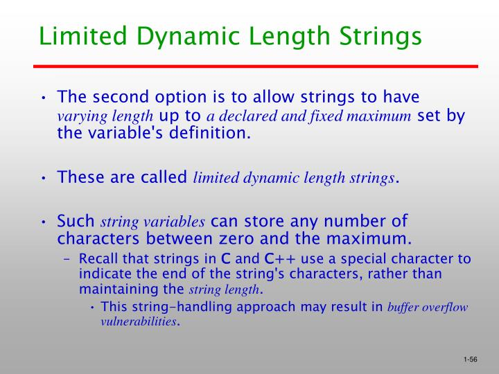 Limited Dynamic Length Strings