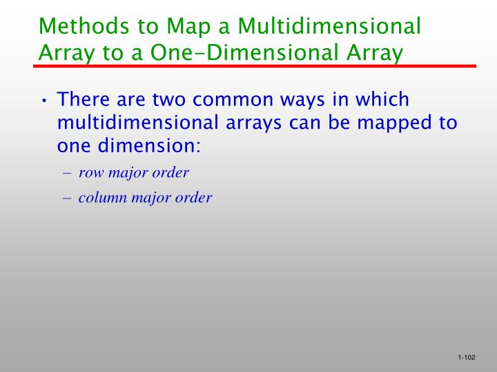 Methods to Map a Multidimensional Array to a One-Dimensional Array