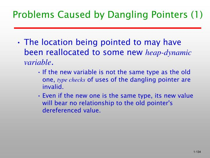 Problems Caused by Dangling Pointers (1)
