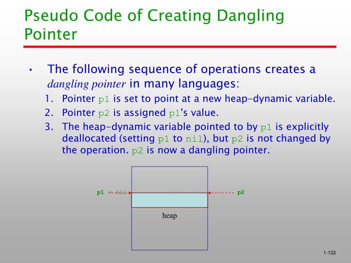 Pseudo Code of Creating Dangling Pointer