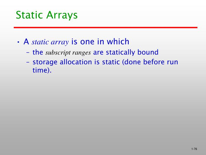 Static Arrays