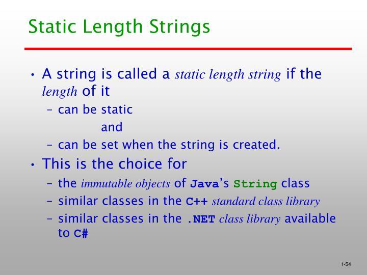 Static Length Strings