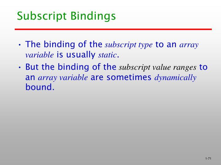 Subscript Bindings
