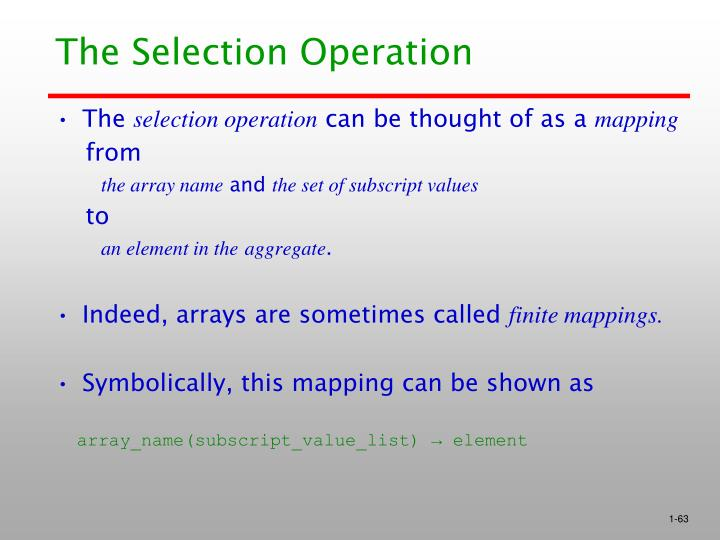 The Selection Operation