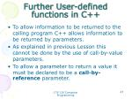 further user defined functions in c1