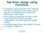 top down design using functions