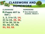 classwork and homework