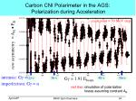 carbon cni polarimeter in the ags polarization during acceleration