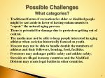 possible challenges what categories
