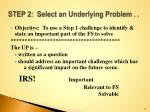 step 2 select an underlying problem