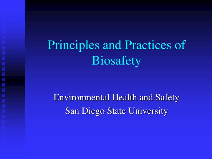 principles and practices of biosafety n.