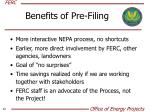benefits of pre filing