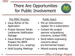 there are opportunities for public involvement