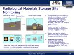 radiological materials storage site monitoring