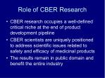 role of cber research