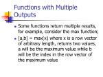 functions with multiple outputs