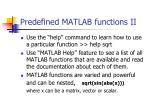 predefined matlab functions ii