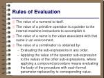 rules of evaluation